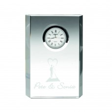 CLEAR GLASS RECTANGLE CLOCK - 4.75in