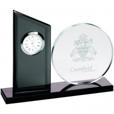 CLEAR/BLACK GLASS CLOCK AND ROUND PLAQUE -   5.25in