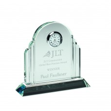 CLEAR GLASS ARCHED CLOCK - 5.25in