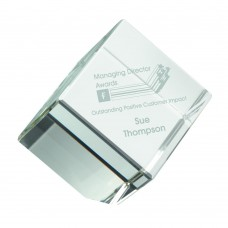 CLEAR GLASS CUBE PAPERWEIGHT IN BOX - 2.5in