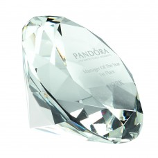 GLASS DIAMOND SHAPED PAPERWEIGHT IN BOX - CLEAR 2.5in