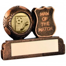 BRZ/GOLD RESIN FOOTBALL 'MAN OF THE MATCH' TROPHY - (1in CENTRE) 2.5in