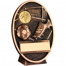 BRZ/GOLD FOOTBALL AND BOOT OVAL PLAQUE TROPHY - (1in CENTRE) 4.25in