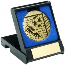 BLACK PLASTIC BOX WITH FOOTBALL INSERT TROPHY - GOLD 3.5in