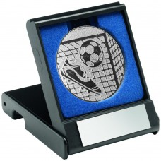 BLACK PLASTIC BOX WITH FOOTBALL INSERT TROPHY - SILVER 3.5in