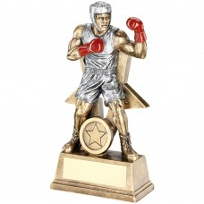 BRZ/PEW/RED MALE BOXING FIGURE WITH STAR BACKING TROPHY (1in CENTRE) - 6in