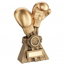 GOLD/BRZ BOXING GLOVES WITH BELT TROPHY (1in CENTRE) - 6in