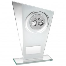 WHITE/SILVER PRINTED GLASS PLAQUE WITH BOXING INSERT TROPHY - 6.5in