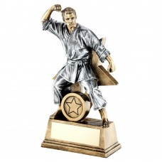 """BRZ/GOLD/PEW MALE MARTIAL ARTS FIGURE WITH STAR BACKING TROPHY (1in CENTRE) - 6"""""""