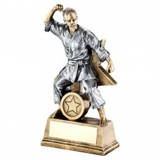 BRZ/GOLD/PEW FEMALE MARTIAL ARTS FIGURE WITH STAR BACKING TROPHY (1in CEN) - 6in