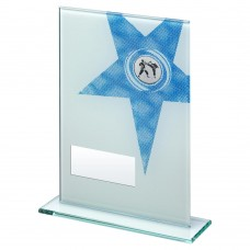 WHITE/BLUE PRINTED GLASS RECTANGLE WITH MARTIAL ARTS INSERT TROPHY - 6.5in