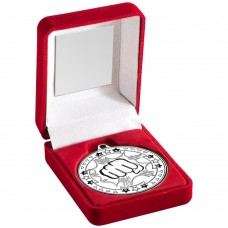 RED VELVET BOX AND 50mm MEDAL MARTIAL ARTS TROPHY - SILVER 3.5in