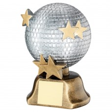 SILVER/BRZ/GOLD GLITTER BALL WITH STARS TROPHY - 6in