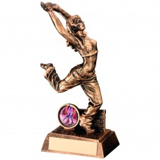 BRZ/GOLD RESIN STREET DANCE FIGURE TROPHY - FEMALE (1in CENTRE) 7.5in