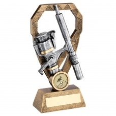 BRZ/PEW/GOLD ANGLING ROD AND REEL ON DIAMOND TROPHY (1in CENTRE) - 8in