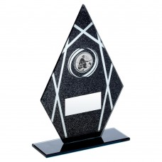 BLACK/SILVER PRINTED GLASS DIAMOND WITH ANGLING INSERT TROPHY - 6.5in