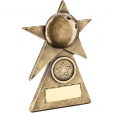 BRZ/GOLD TEN PIN STAR ON PYRAMID BASE TROPHY - (1in CENTRE) - 4in
