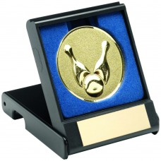 BLACK PLASTIC BOX WITH TEN PIN INSERT TROPHY - GOLD 3.5in