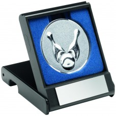 BLACK PLASTIC BOX WITH TEN PIN INSERT TROPHY - SILVER 3.5in