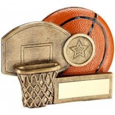 BRZ/ORANGE BASKETBALL AND NET CHUNKY FLATBACK TROPHY (1in CENTRE) - 2.75in