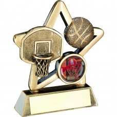 BRZ/GOLD BASKETBALL MINI STAR TROPHY - (1in CENTRE) 3.75in
