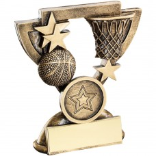 BRZ/GOLD BASKETBALL MINI CUP TROPHY - (1in CENTRE) 3.75in