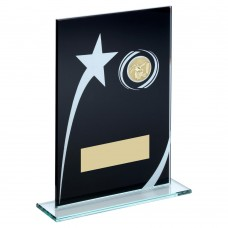 BLK/WHITE PRINTED GLASS PLAQUE WITH BASKETBALL INSERT TROPHY - 6.5in