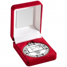 RED VELVET BOX AND 50mm MEDAL BASKETBALL TROPHY - SILVER 3.5in
