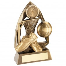 BRZ/GOLD NETBALL DIAMOND COLLECTION TROPHY   (1in CENTRE) - 5.75in