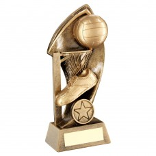 BRZ/GOLD NETBALL WITH TWISTED BACKDROP TROPHY (1in CENTRE) - 5in