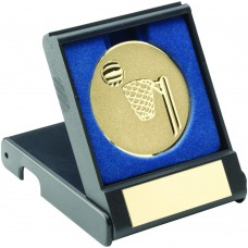 BLACK PLASTIC BOX WITH NETBALL INSERT TROPHY - GOLD 3.5in