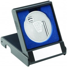 BLACK PLASTIC BOX WITH NETBALL INSERT TROPHY - SILVER 3.5in
