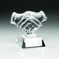 CLEAR GLASS 'HANDSHAKE' TROPHY - 4.25in