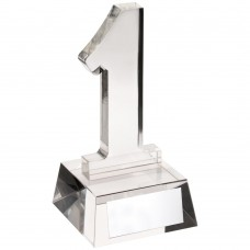 CLEAR GLASS 'No.1' TROPHY - 5.5in