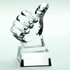 CLEAR GLASS 'THUMBS UP' TROPHY - 5.5in