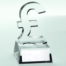 CLEAR GLASS 'POUND SIGN' TROPHY - 4.75in