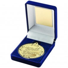 BLUE VELVET BOX AND 50mm GOLD MEDAL WELL DONE TROPHY - 3.5in