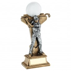 BRZ/PEW MALE GOLF FIGURE WITH BALL ON BACKDROP TROPHY - 5.75in