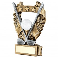 BRZ/PEW/WHITE/GOLD GOLF 3 STAR WREATH AWARD TROPHY - 5in