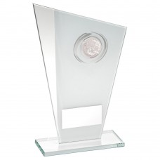 WHITE/SILVER PRINTED GLASS PLAQUE WITH GOLF INSERT TROPHY - 6.5in