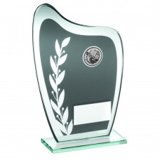 GREY/SILVER GLASS PLAQUE WITH GOLF INSERT TROPHY - 6.5in