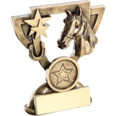 BRZ/GOLD HORSE MINI CUP TROPHY - (1in CENTRE) 3.75in