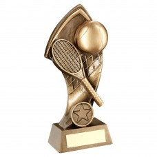 BRZ/GOLD TENNIS WITH TWISTED BACKDROP TROPHY (1in CENTRE) - 5in