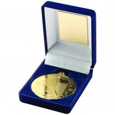 BLUE VELVET BOX AND 50mm MEDAL TENNIS TROPHY - GOLD 3.5in