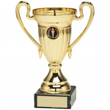 GOLD PLASTIC LINED CUP TROPHY - (1in CENTRE)     4.75in