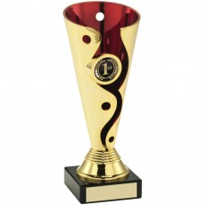 GOLD/RED PLASTIC SWIRL AND DOT TROPHY - (1in CENTRE) 6in
