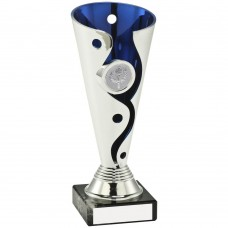 SILVER/BLUE PLASTIC SWIRL AND DOT TROPHY - (1in CENTRE) 6in