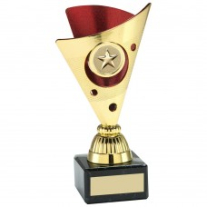 GOLD/RED TRI DOT TROPHY (1in CENTRE) - 6in