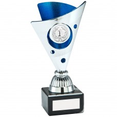 SILVER/BLUE TRI DOT TROPHY (1in CENTRE) - 6in