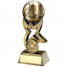BRZ/GOLD GAELIC FOOTBALL ON STAR TROPHY RISER TROPHY - (1in CENTRE) 4in